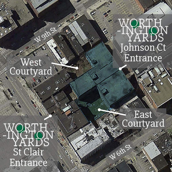 Worthington Yards is made of 4 buildings surrounding 2 court yards.